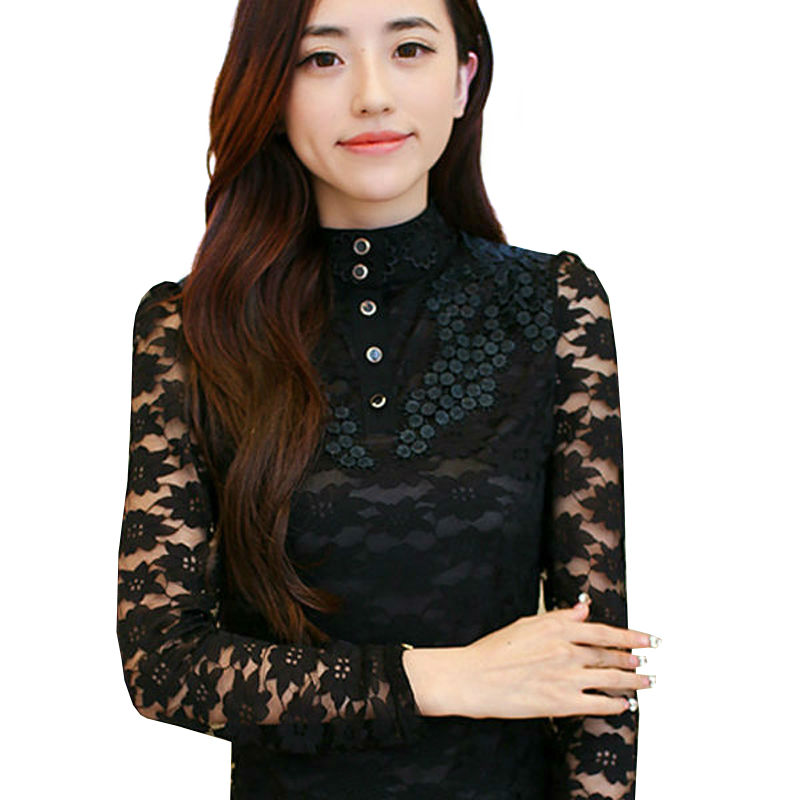 5b78f013f637 Black Lace shirt blusa renda lace blouses ladies turtleneck women tops big  sizes clothing WD333-in Blouses   Shirts from Women s Clothing on  Aliexpress.com ...