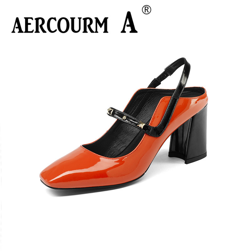 Aercourm A Women Mixed Colors Patent Leather Sandals Square Higth Heel Sandals Lady Buckle Strap Summer Shoes Female Black Shoes xiaying smile summer woman sandals platform wedges heel women pumps buckle strap fashion mixed colors flock lady women shoes