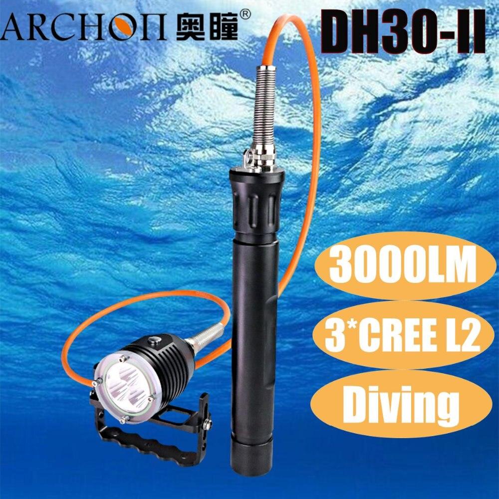 ARCONTE DH30 II 3 xCree XML U2 LED 3 Modalità di 3000LM 100 m Subacquea 3*26650 della Scatola Metallica di Immersione Subacquea della Torcia Elettrica torcia