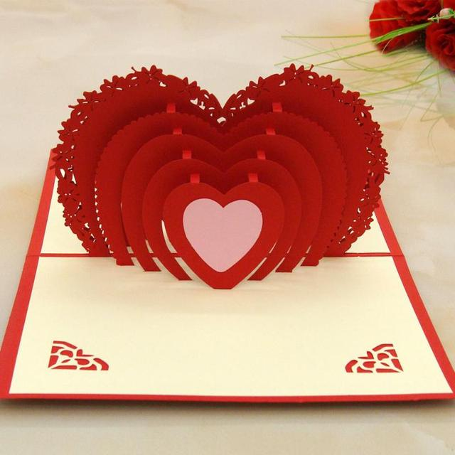 3d heart shaped greeting cards folding happy birthday card best gift