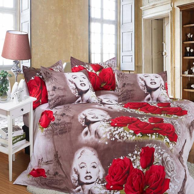 3d Bedding Sets Flower Newest Marilyn Monroe Bed Set In A Bag1xduvet Cover 1xbed