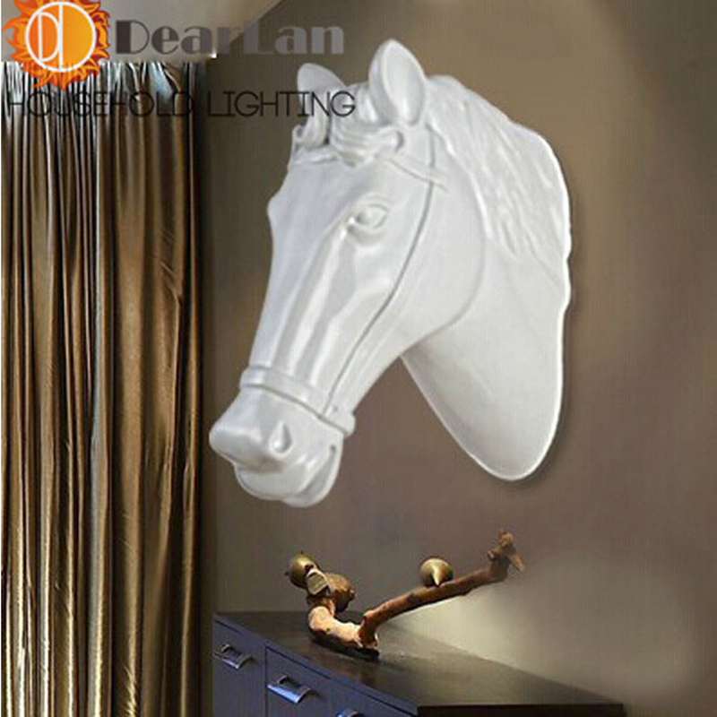 ФОТО Modern Style Horse Face Wall Lamps Black/White Foyer Lamp Hotel Hall Lamp Loft Lamp Free Shipping
