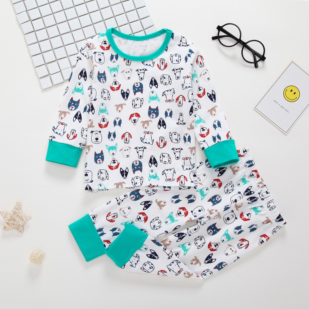 Kids Pajamas Outfit Infant Baby Soft Cotton Sleeve Pajamas Nightwear Outfit 0-3Y
