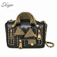 Kajie Designers 2018 Women Bags Leather Handicraft Rivet Jacket Punk Style Messenger Bags Shoulder Crossbody Bag