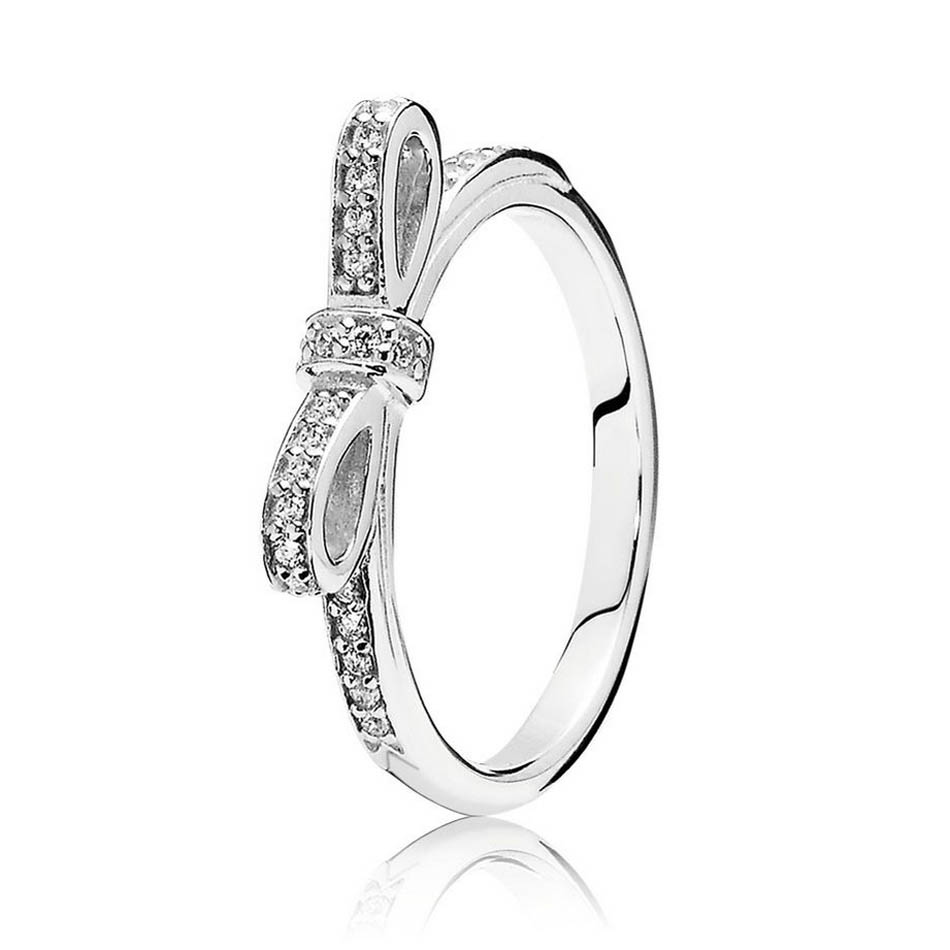 Silver Plated Rings For Women Sparkling Bow Ring Clear CZ Lady Girl Birthday Gift Fit Jewelry