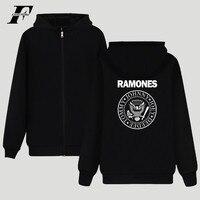 LUCKYFRIDAYF Ramones Kapturem Bluza Zipper Punk Muzyka na Gorąco Zespół Fashion Style Bluzy Dziewczyna Zamek Bluzy Z Kapturem Plus Size