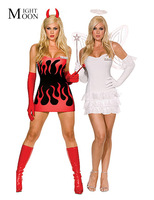 White Red Reversible Both Sides Sexy Devil Angel Halloween Costume Adult Fancy Dress Outfit Cosplay Costumes