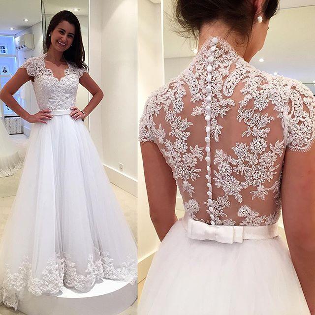 blanco con cuentas de encaje apliques vestidos de novia cap mangas de cuello v una lnea