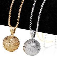2f3f159ecd0 Colliers de basket-ball pendentif sport couleur argent or en acier  inoxydable bijoux Hip Hop chaîne en acier inoxydable pour hom.