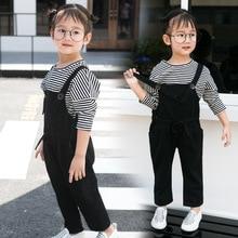 Дети девушки бренд брюки костюмы для девочек 2-14 год девушки досуг костюмы одежды девушки осень футболка + комбинезоны брюки 2 шт. 26113b