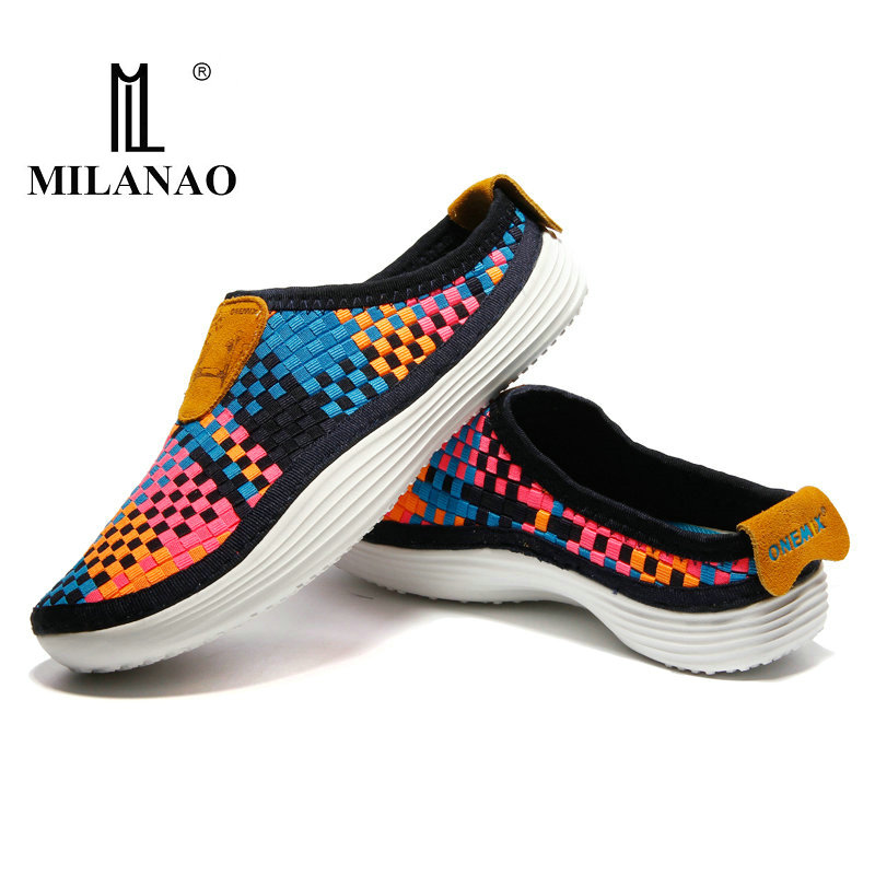 2018 MILANAO Men & Women s Sneakers Breathable Weaving Walking Boy Girl Lady Shoes Outdoor Candy Color Lazy Light Running Shoes