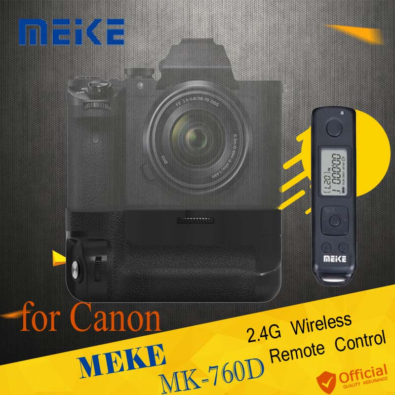 Meike MK-760D 2.4G Wireless Remote Control LCD Display Pro Battery Grip for Canon Camera 750D 760D Rebel T6i T6s as BG-E18 meike mk 760d vertical battery grip holder for canon 750d 760d lp e17 as bg e18