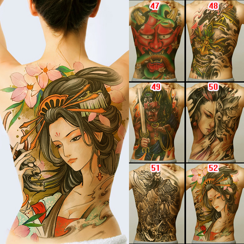 New 48*35cm Large Geisha Tattoos Men Women Waterproof Big Temporary Tattoo Stickers Full Back Body Art Fake Tattoo Dragon Skull