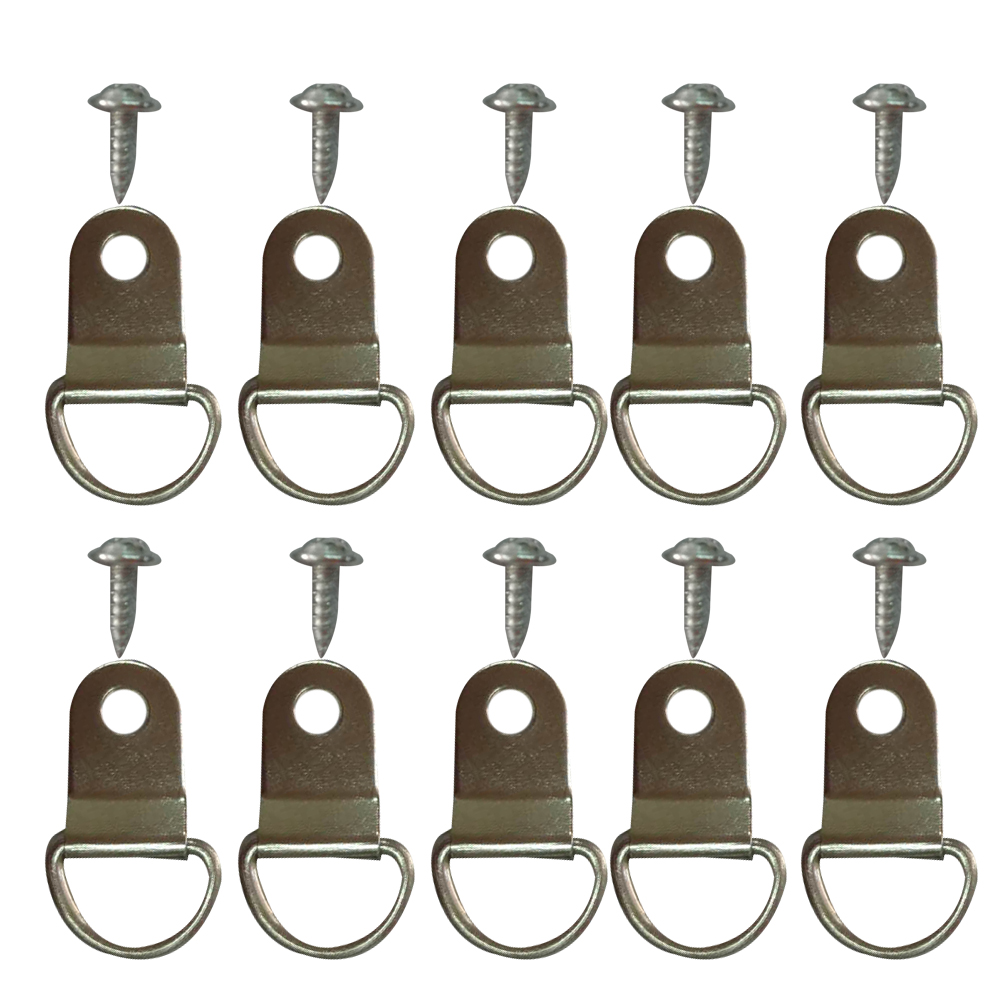 200pcs D Ring Picture Frame Hanger Hanging Hangers Single Hole with Screws