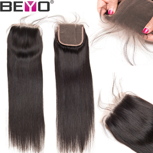 Image 3 - Beyo 4 x 4 Straight Human Hair Closure Free/Middle/Three Part Peruvian Hair Lace Closure With Baby Hair 10 24 Inch Non Remy Hair