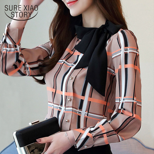 fashion woman blouses 2018 long sleeve shirt women plus size blouses women clothing female palid blouse shirt top blusas 1285 40