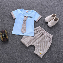 2019 New Summer Baby Boy Kids Clothes Set Children Clothing Suit Tops Tie Short-sleeved T-shirt Pants 2pcs Sport Infant Clothing цена