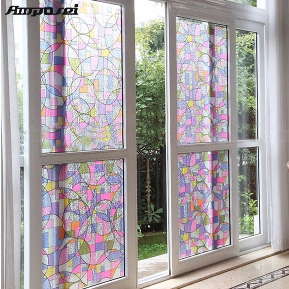 45x200cm Privacy Textured Static Cling Stained Glass Window Film Home Decor UV Anti Glass Film Window Sticker -FF ...