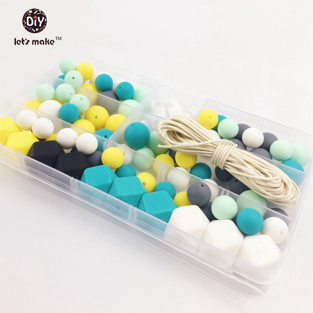 Laten we 1 set Silicone Beads Set of Unfinished Round Chew Beads Teething Nursing Necklace Mintgroen Turquoise Baby Bijtring maken