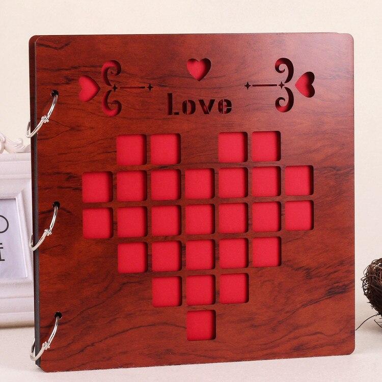 16 Zoll Vintage Red Holz Abdeckung Fotoalbum DIY Speicher Geschenk ...