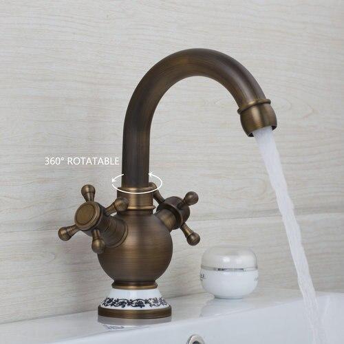 Hot/Cold Water Antique Brass Swivel 360 Deck Mount 97162 Double Handles Sink Kitchen Torneira Cozinha Tap Mixer Faucet antique brass swivel spout dual cross handles kitchen