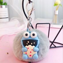 Cute cartoon ebony cake Keychain Sesame Street Pompom Key Holder Chain Gifts for Women Llaveros Mujer Car Bag Keyring Pendant