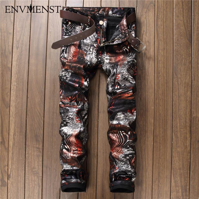 2017 High Quality 3D Printed Jeans Men Fashion Classic Slin Fit Denim Pants Men's Jeans Elastic Biker Casual Men Clothing men s cowboy jeans fashion blue jeans pant men plus sizes regular slim fit denim jean pants male high quality brand jeans
