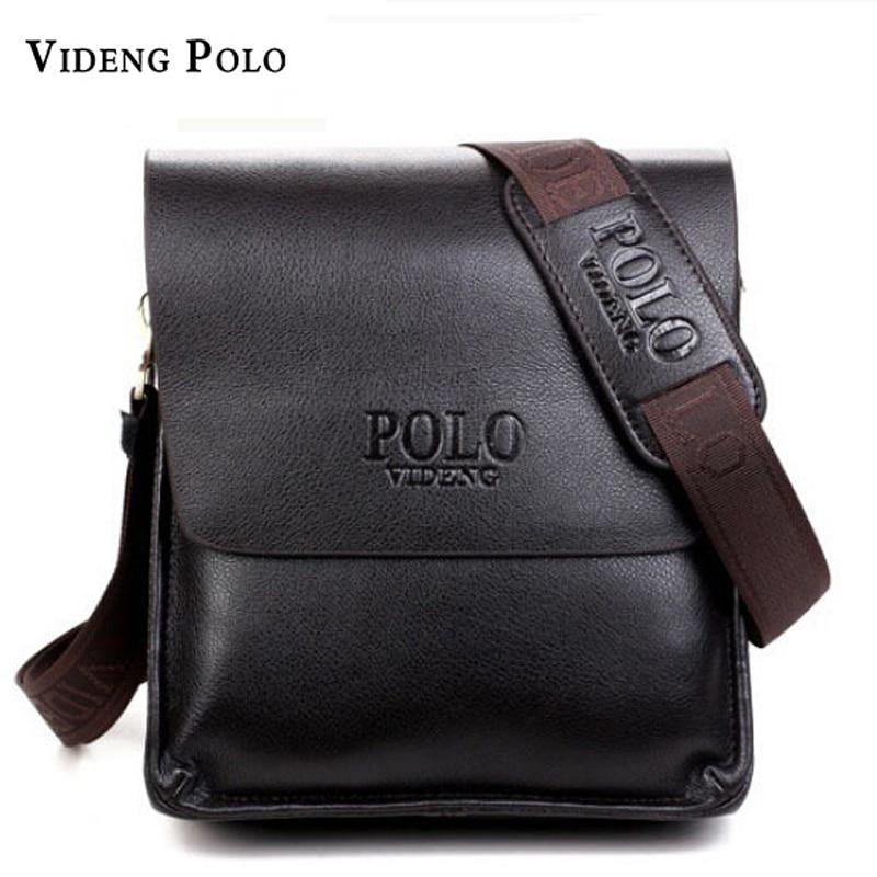 2018 New Leather Men Bags Famous Brand Classic POLO Male Shoulder Bag  Leather Vintage Crossbody Messenger Bag For Men Briefcase