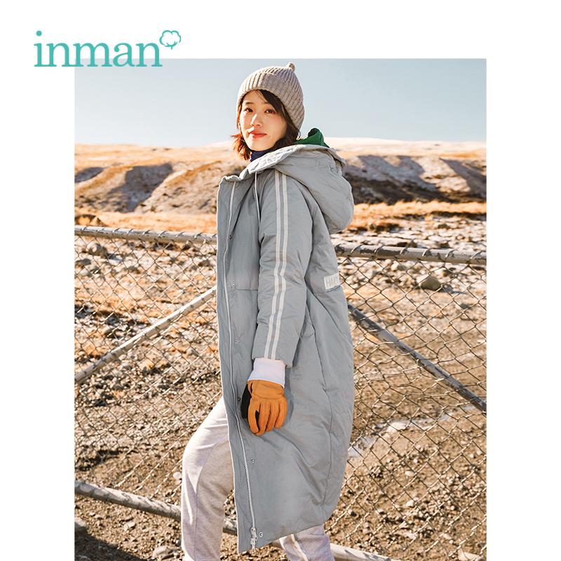 INMAN Autumn New Arrival Female Hooded Embroidery Loose Casual Long Section Down Coat