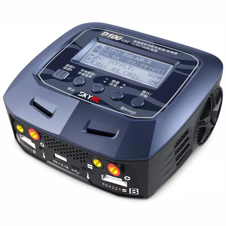 Chargeur Skyrc D100 V2C double canal AC/DC LiPo 1-6 s 2x100 W double avec décharge de chargeur d'équilibre Bluetooth pour batterie Lipo Li-ion
