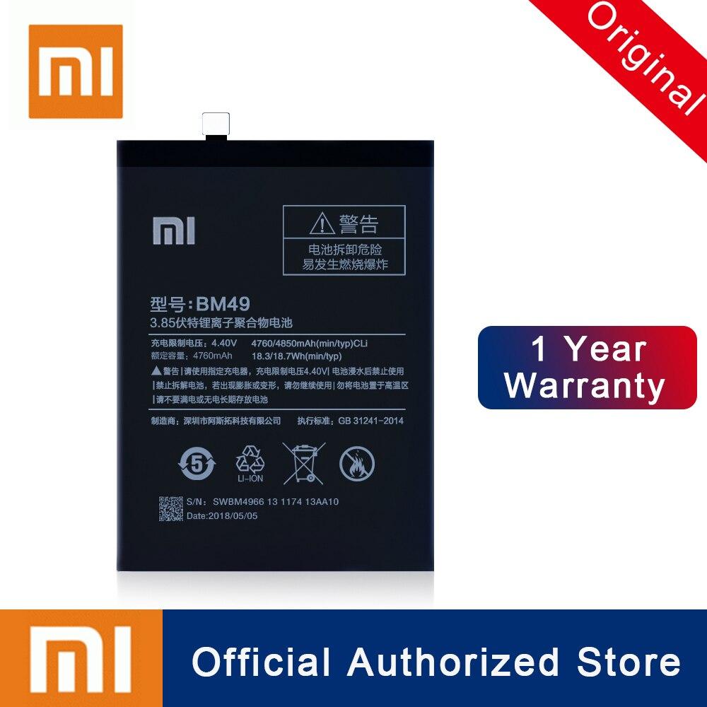 Xiao mi 100% Original BM49 Für Xiao mi mi Max Batterie 4760 mAh Reale Kapazität Wiederaufladbare Telefon Batteria Akku + freies Verschiffen
