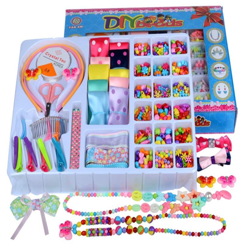 Zhenwei Bowknot Hair  Head Band Jewelry Fashion Kit Bracelet Educational Kid Necklace Toy Craft Set  Gifts Box For Girls Xmas
