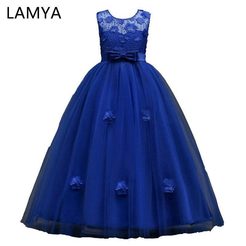 LAMYA Six Color Appliques Long Ball Gown Flowers Girls Dresses For Weddings Kids Evening Gowns vestido longo