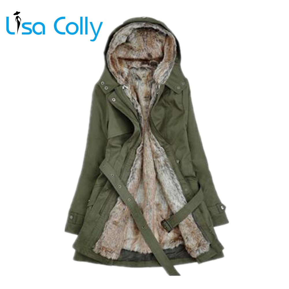 Lisa Colly Fashion Women Faux fur coat Long Parkas Female Womens Winter Jacket Coat Thick Cotton