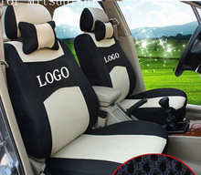 front 2 seat cover For mitsubishi pajero lancer outlander Grey ventilate firm Embroidery logo Car Seat Cover