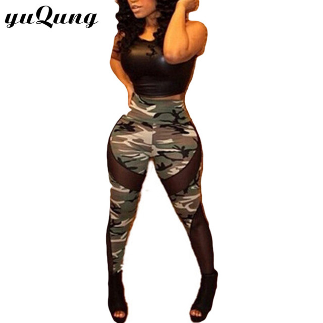 dc5636eb524 Womens Sexy Camo Leggings girls 2016 High Elastic mesh fittness camouflage  army printed leggins for woman pants summer