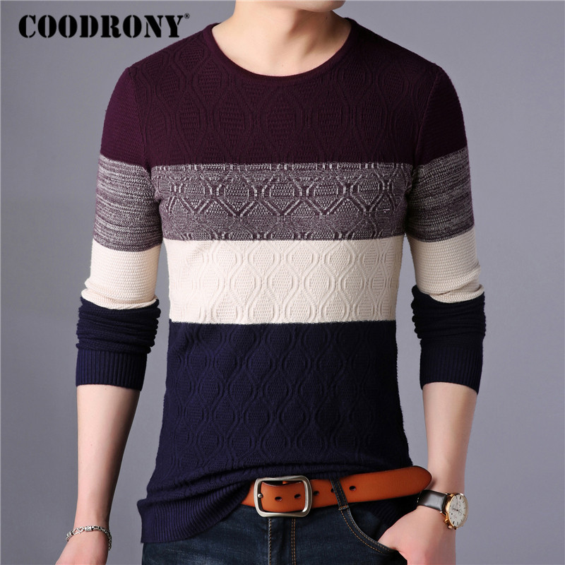 COODRONY Sweater Men Streetwear Fashion Striped Knitwear Autumn Winter Cotton Wool Pullover Men Slim Fit O-Neck Pull Homme 91028