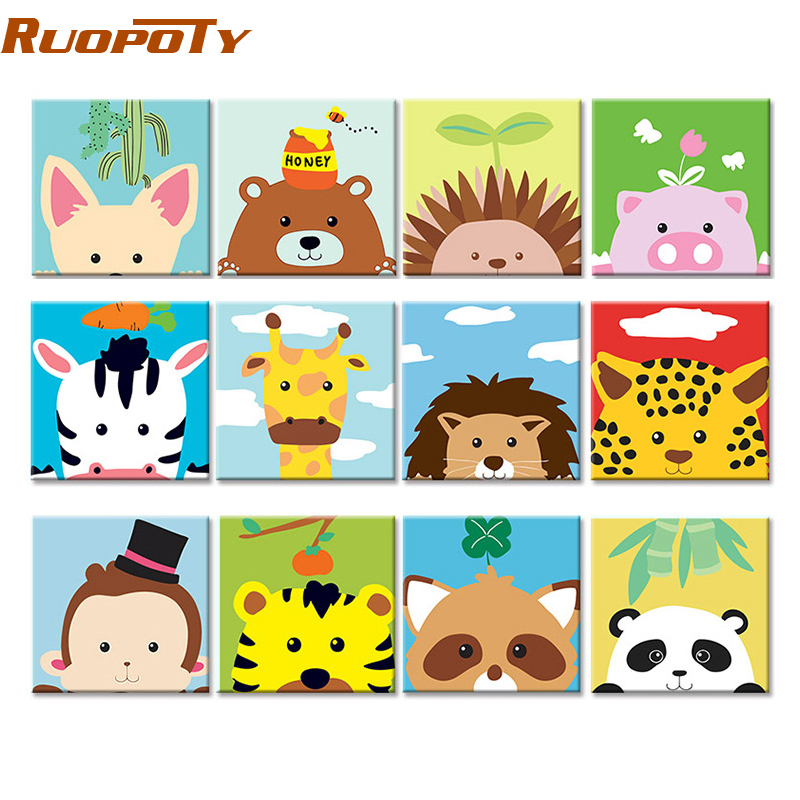 Popular  RUOPOTY Frame Cute Animals DIY Painting By Numbers Modern Wall Art Picture Kids Paint By Numbers Un