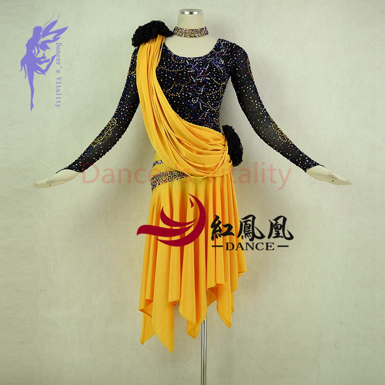 cc1db053a Good New latin dance costumes sexy senior long sleeves stones latin dance  dress for women latin dance competition dresses XS-6XL offers where can We  ...