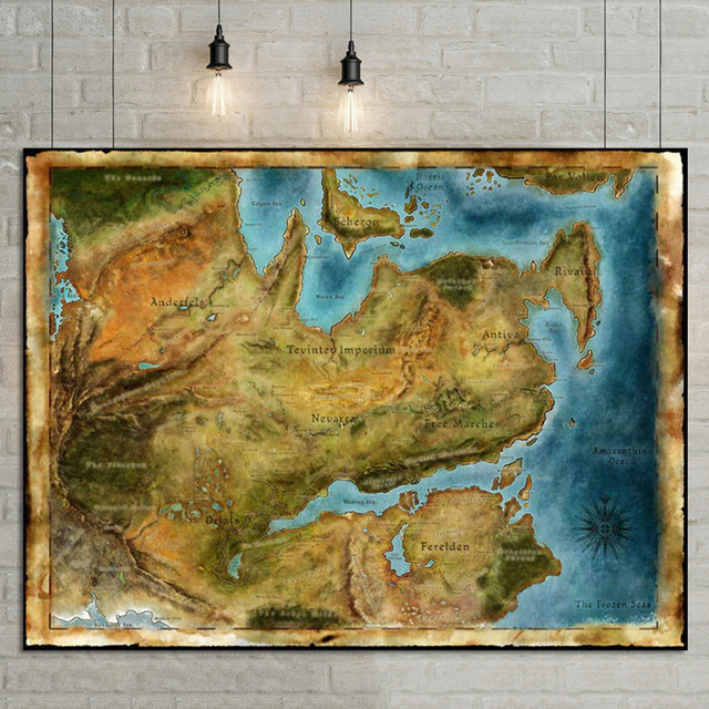 Thedas Map Dragon Age Games Art Fabric poster 32