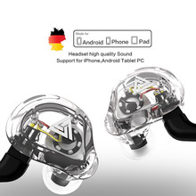 QKZ VK1 4DD 서브 우퍼 인 이어 이어폰 HIFI 매달려 귀 동축 휴대 전화 음악 밀 Eadphones 0.75MM 핀 케이블