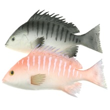 Gresorth 2 Pack Artificial Black & Red Snapper Fake Fish Decoration Home Party Christmas Display - 9 inch