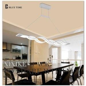 Image 2 - 120CM biały czarny nowoczesne lampy wiszące do jadalni pokój dzienny kuchnia ściemnialna lampa wisząca led lamparas kształt fali