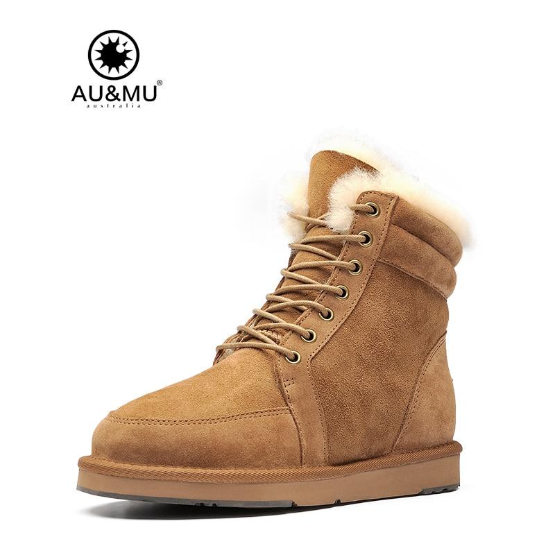 2018 AUMU Australia Lace Up Short Sheepskin Snow Boots N079