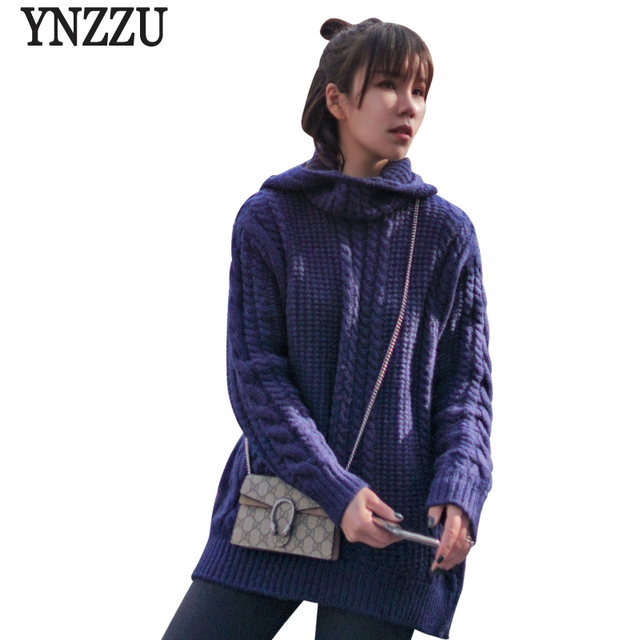 YNZZU Casual Solid Twist Women Pullovers Hooded Warm Knitted Jumper 2018  Autumn Winter Women Sweaters and Pullovers YT444 6c6aefe5a