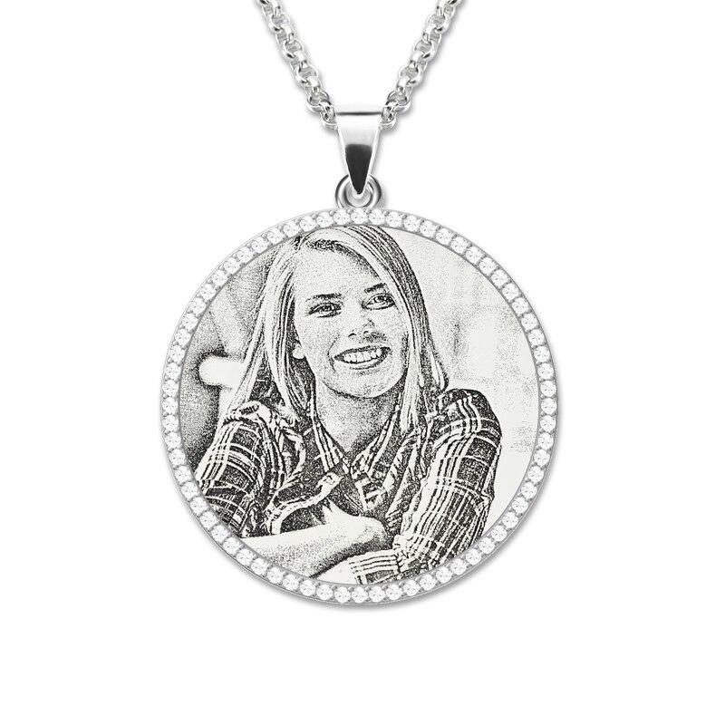 Оптовая продажа фото выгравированы цепочки и ожерелья серебряный с камнем-талисманом Материнские украшения заказ Мемориал подарок