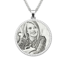 Wholesale Cutom Photo Engraved Pendant Necklace Sterling Silver Birthstone Mother Jewelry Personalized Memorial Gift halloween
