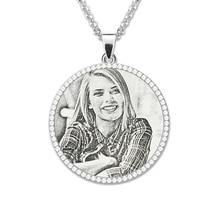 Foto por mayor grabado collar plata esterlina birthstone madre joyería personalizada regalo conmemorativo