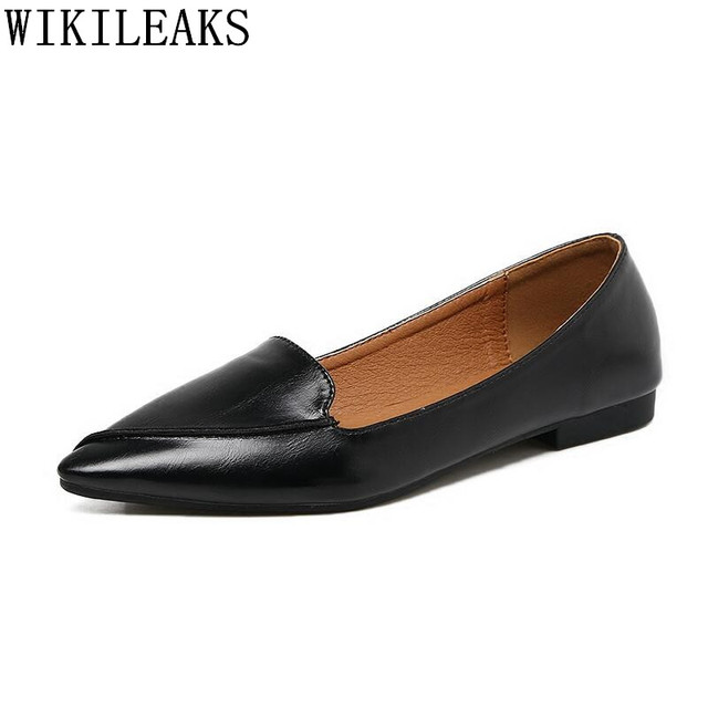 2018 Designer Genuine Leather Women Casual Shoes Luxury Brand Flat Shoes Woman Boat Shoes Slip On Loafers zapatos mujer black