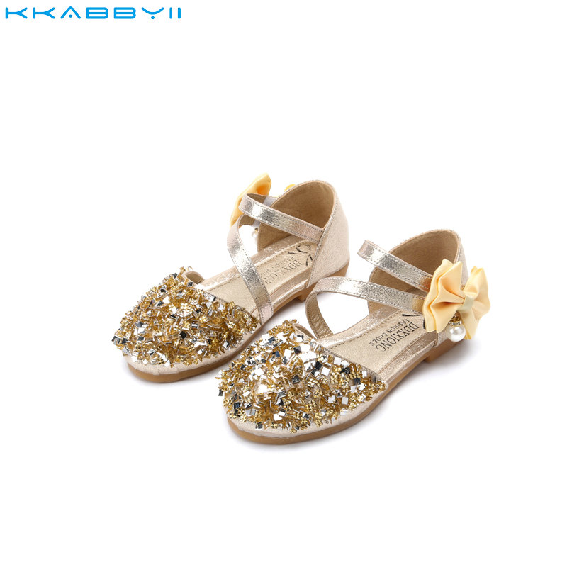KKABBYII Children Princess Glitter Sandals Kids Girls Soft Shoes Square Low  heeled Dress Party Shoes Pink Gold Silver-in Sandals from Mother   Kids on  ... d3eba852c13c